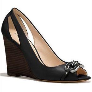 Coach LARCHMONT Leather Wedge Sandals, size 8.5